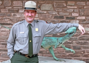 Petrified Forest Brad Traver and Coelophysis Statue Image credit: NPS